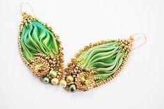 Embroidery earrings Shibori earrings beaded by ByMimmiShop on Etsy
