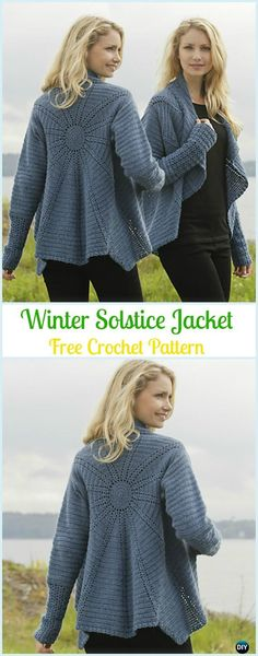 Crochet Winter Solstice Jacket Free Pattern - Circle Vest & Sweater Cardigan Free Patterns Crochet Circle Jacket, Crochet Circular Vest + Sweater Jacket +Top+Coat Free Patterns: Crochet Bohemian Style Sweater Coat and Vest for ladies and girls. Crochet Bodycon Dresses, Black Crochet Dress, Crochet Coat, Crochet Winter, Crochet Jacket, Crochet Clothes, Crochet Baby, Crochet Sweaters, Crochet Cardigan Pattern