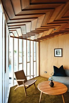 ceiling details, chevron, wood paneling, danish modern chair, windows, funky shape from: inthralld