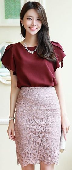 Korean Fashion – How to Dress up Korean Style – Designer Fashion Tips Skirt Outfits, Chic Outfits, Fashion Outfits, Womens Fashion, Fashion Trends, Blouse And Skirt, Dress Skirt, Dress Up, Vetement Fashion