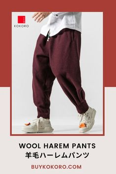 The Wool Harem Pants are warm and perfect for colder seasons. The wool is woven in a twill type pattern, cuffed and pleated at the ankles. Wool Harem Pant, Men's Style Inspiration, Trendy Outfit, Classy Style, Men's Casual Outfit, Aesthetic Pant, Men's Bottom Outfit, Fashion Blogger, Comfortable Pant, Traditional Pant! #woolpant #harempant #tokyostyle #japanesefashion #kokorostyle