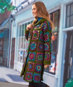 Crochet Sweater Coat in Grannies. Love this look but might choose to do the same coloured combinations in the squares.