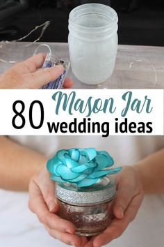 Want mason jars at your wedding? We have over 80 ideas to inspire your rustic wedding and make it something special! videos crafts for the home rustic Over 80 Mason Jar Wedding Ideas Wedding Jars, Wedding Centerpieces Mason Jars, Rustic Wedding, Wedding Ideas With Mason Jars, Mason Jars For Weddings, Wedding Decorations, Gift Wedding, Wedding Things, Wedding Makeup