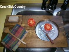 Primitive Wood  Sink Cover Cutting Board Drainer Dorchester Collection- Very Primitive