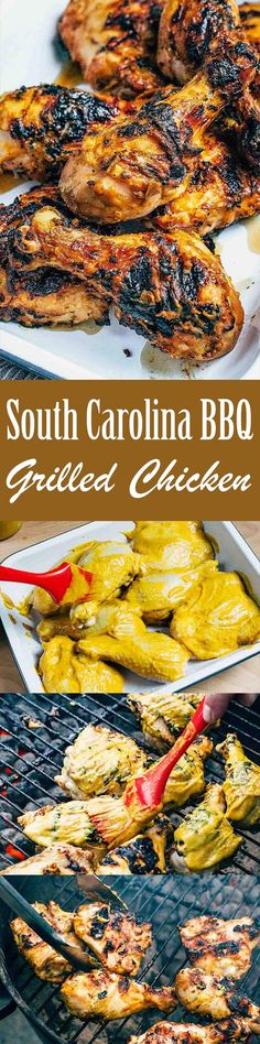Grilled Chicken with South Carolina BBQ Sauce pairs zesty, mustard-based South Carolina-style barbecue sauce with grilled chicken. You get a hint of sweetness and spice from the sauce, and every bite is wonderfully smoky from the grill!