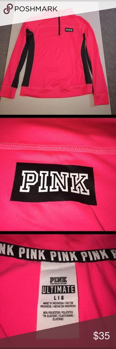 Victoria's Secret Pink Yoga/Running Shirt Hot Pink and Gray Victoria's Secret Pink Long Sleeve Running/Yoga Shirt.  Never Worn.  Size Large.  Comes from a smoke free/pet free home PINK Victoria's Secret Tops Tees - Long Sleeve
