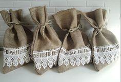 Burlap Gift Bag with Ivory Lace, Set of 4. $28.00, via Etsy.