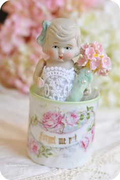"""Antique sentiment cup. """"Forget me not."""" I collect these charming little cups, also known as """"Friendship Cups."""""""