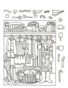 Printable Coloring Pages For Kids Hidden Pictures Worksheet Clothes Coloring Pages For Kids, Coloring Books, Hidden Pictures Printables, Hidden Picture Puzzles, Preschool Worksheets, Preschool Activities, Kids Learning, Barn, German Language