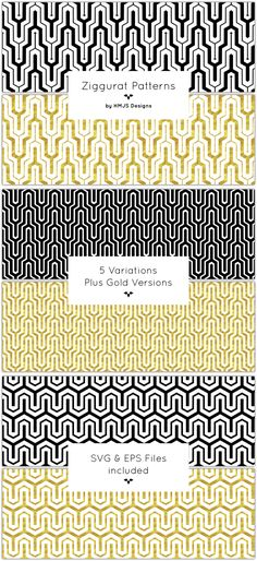 Buy Ziggurat Patterns by RosemaryHMJS on GraphicRiver. A set of ziggurat patterns. Includes: – 5 Variations – 25 image files – 10 patterns with transparent background – 5 G. Turquoise Pattern, Gold Pattern, Textures Patterns, Fabric Patterns, Art Deco Pattern, Pattern Illustration, Typography Design, Graphic Design, Design Art