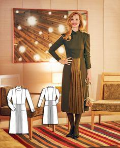 Pleated Skirt Dress 10/2015 #116 http://www.burdastyle.com/pattern_store/patterns/pleated-skirt-dress-102015?utm_source=burdastyle.com&utm_medium=referral&utm_campaign=bs-tta-bl-150928-GreenSophistication116