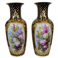 A Pair of Large Paris Porcelain Cobalt Blue Vases OF THE PERIOD: 	Louis Philippe PLACE OF ORIGIN: 	France DATE OF MANUFACTURE: 	c1850 PERIOD: 	19th Century MATERIALS AND TECHNIQUES: 	Porcelain MATERIALS NOTES: 	Porcelain CONDITION: 	Excellent HEIGHT: 	22 in. (56 cm) DIAMETER: 	8.5 in. (22 cm)