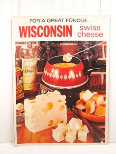 Vintage Poster Fondue Cheese Swiss Wisconsin by vintagegoodness, $19.95