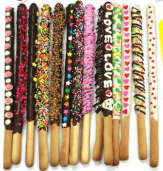 Inspiration: breadsticks decorated with chocolate and a variety of toppings. Pepero Sticks.