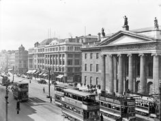 General Post Office, O'Connell Street, Dublin City, Co. Dublin by National Library of Ireland on The Commons (Note: Today you can see pock marks from bullets fired by the British in the Revolutionary days-Rob) Ireland Pictures, Old Pictures, Old Photos, Vintage Photos, Dublin Ireland, Ireland Travel, General Post Office, Photo Engraving, Ireland Homes