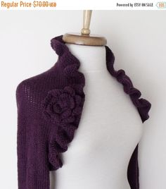 SPRING SALE Purple Wedding Bridal Shrug long by knittingshop
