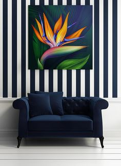 Work It Baby: 14 Interior Design Trends 2017 Navy is the new black. You're going to see it everywher : Work It Baby: 14 Interior Design Trends 2017 Navy is the new black. You're going to see it everywher Black Couch Decor, Navy Couch, Diy Wall Painting, Painting Canvas, Wall Canvas, Paint Stripes, Home Office Decor, Navy Home Decor, Diy Design