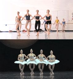 Pacific Northwest Ballet dancers rehearse the four little swans dance from Swan Lake. Ballet Pictures, Ballet Photos, Dance Pictures, Hip Hop, Pacific Northwest Ballet, La Bayadere, Male Ballet Dancers, Ballet Photography, Dance Poses