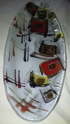 Fused Glass Bowl, Glass Vase, Glass Fusion Ideas, Sushi Set, My Works, Stained Glass, Clay, Plates, Crafts