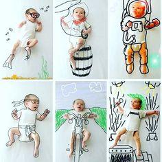 Gente apaixonada por essas fotos de bebezicos com desenho sobreposto!   A criatividade de pais e mães que elaboram essas brincadeiras divertidas para as lembranças de seus bebês não tem preço.  Via #pinterest   #Maecomfilhos #bebês #fotografia #fotosdivertidas #kidsphotography #newbornphotography