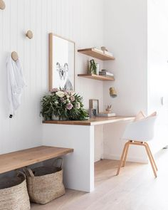 minimalist home office with modern desk and open shelves, vertical white shiplap. - minimalist home office with modern desk and open shelves, vertical white shiplap…- minimalist hom - Home Office Space, Home Office Design, Home Office Decor, House Design, Home Decor, Office Ideas, Desk Office, Home Office Shelves, Office Nook