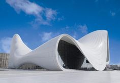 The avant-garde Heydar Aliyev Center in Baku, is regarded as one of Zaha Hadid's most important achievements in design by the late architect herself. Take a look at Hadid's most compelling designs at ig. Zaha Hadid Architecture, Architecture Unique, Futuristic Architecture, Zaha Hadid Buildings, Folding Architecture, Russian Architecture, Classical Architecture, Landscape Architecture, Unusual Buildings