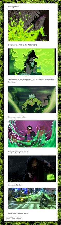 Everything lime green is evil [and any purple undertones, pure evil magic juju]...and Dreamworks too.