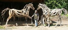 Driftwood Horses by Heather Jansch. Nice fluidity in the choice of driftwood, as it almost looks like musculature.   Its amazing how talented people are.