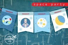 INSTANT DOWNLOAD space party banner - rocket ship party, space ship party, robot party, 1st birthday, first birthday, diy party printables
