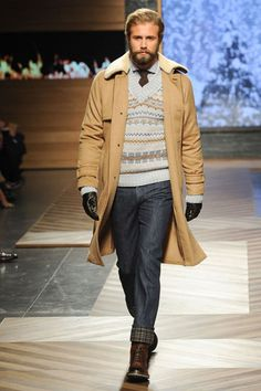 Camel Hair Overcoat, Fair Isle Sweater, Dark Denim Fitted Jeans, Boots, and Gloves. by Ermenegildo Zegna. Men's Fall/Winter Fashion.