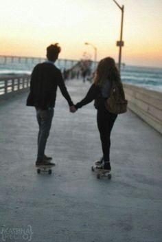 #couple #cute #love #boy #girl #skateboard