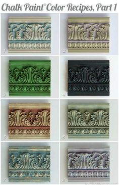 Great Chalk Paint color recipes for painted moldings and furniture. via Paint Chalk Paint Furniture Chalk Color Furniture great moldings Paint Painted recipes Paint Stain, Paint Finishes, Painting Tips, Painting Techniques, Chalk Painting, Passion Deco, Chalk Paint Colors, Chalk Paint Color Combinations, Color Combos