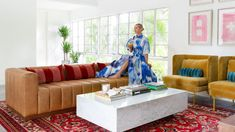 Blair Eadie of Atlantic-Pacific matched her Florida vacation home with her highly curated fashion aesthetic Atlantic Pacific, Living Area, Living Spaces, Living Rooms, Blair Eadie, Room Dimensions, Architectural Digest, Home Collections, White Walls