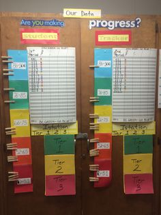 Took this from a teacher at school. Our school is very big on tracking data. This is for tracking progress on benchmark testing and Istation. Each kid has a number and they can track themselves according to their personal number on a clothespin. Easy to do and keep track!!