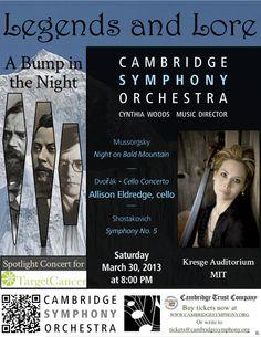 Cambridge Symphony Orchestra - A Bump in the Night - Saturday, March 30, 2013