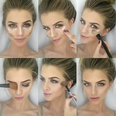 Here is an easy how-to contouring and highlighting tutorial. I used Covergirl Il… - Easy Make Up Le Contouring, Contour Makeup, Contouring And Highlighting, Flawless Makeup, Skin Makeup, Makeup Brushes, How To Blend Contouring, Contouring For Beginners, Liquid Makeup