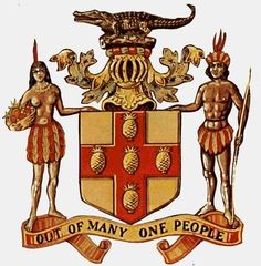 """Coat of Arms of Jamaica portraying Arawak Indians, (indigenous people of Jamaica who settled there from South America long before Christopher Columbus """"discovered"""" the island) with Jamaica's national motto, """"Out of Many, One People"""". Jamaican People, Jamaican Art, Jamaican Quotes, Jamaican Recipes, Jamaican Tattoos, Jamaica Culture, Puerto Rico, Jamaica National, Jamaica History"""
