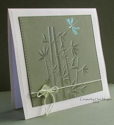 handmade card: AOCC16 - Bamboo Dragonfly by ceedee ... faux embossing stamping technique ... Asian theme with bamboo and dragonfly .. luv the serene colors ... Hero Arts ...