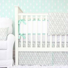 Our Micah's Mint & Gray crib bedding is a modern geometric bedding that will look great in your little boy's nursery.  Featuring a gray lined stripe pattern on the crib sheet and a perfectly coordinated gray and mint diamond flat panel crib skirt, this is a baby bedding collection worthy of your handsome little man!