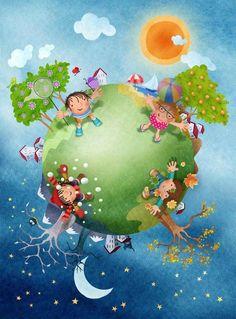 day and night Illustration Noel, Illustrations, Scrapbooking Image, Diy And Crafts, Crafts For Kids, School Murals, Ideas Para Organizar, Preschool Education, School Decorations