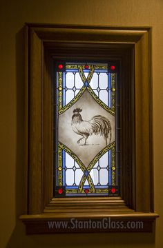 Hand Painted Leaded Glass Rooster for French Style Farm House...