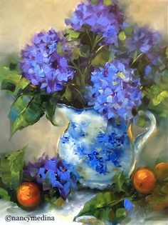 Winter Blues Hydrangeas - Flower Paintings by Nancy Medina Art, painting by artist Nancy Medina