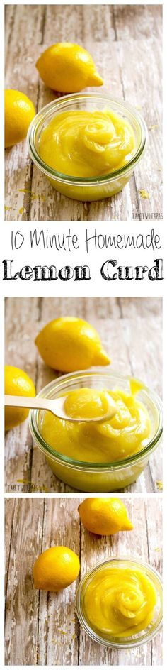 This bright and tart lemon curd is simple to make and can be used for a variety of desserts and tarts! Homemade 10 Minute Lemon Curd | Take Two Tapas