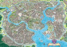 Fantasy Map Making, Fantasy City Map, Fantasy World Map, Fantasy Castle, Fantasy Art, Dnd World Map, Rpg Map, City Layout, Environment Concept Art