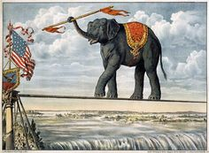 Vintage - Elephant Crossing the Niagra Falls on a Tight Rope - Circus Poster