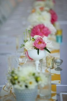 Pink and yellow #weddings #tables #pink #yellow