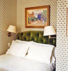 Green velvet tufted headboard. Originally from Domino. Love the wallpaper too!!
