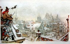 Rooftop Sketcher - Anton Pieck, Dutch painter, artist and graphic artist.