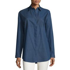 Lafayette 148 New York Nicoletta Denim Long-Sleeve Blouse (4 920 ZAR) ❤ liked on Polyvore featuring tops, blouses, indigo, long sleeve tops, denim top, blue long sleeve top, blue blouse and blue top