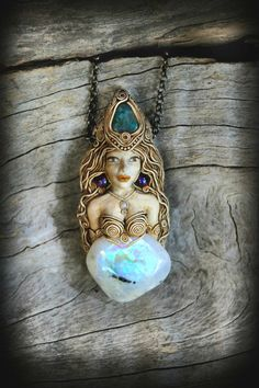 Goddess of the moon Rainbow Moonstone fully hand sculpted Doll pendant